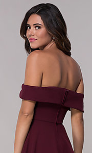 Image of wine red off-shoulder homecoming short dress. Style: SS-D73731DNE Detail Image 2
