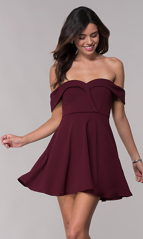 Image of wine red off-shoulder homecoming short dress. Style: SS-D73731DNE Front Image