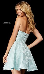 Image of brocade strapless Sherri Hill homecoming dress. Style: SH-52337 Detail Image 2