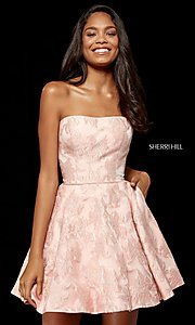 Image of brocade strapless Sherri Hill homecoming dress. Style: SH-52337 Front Image