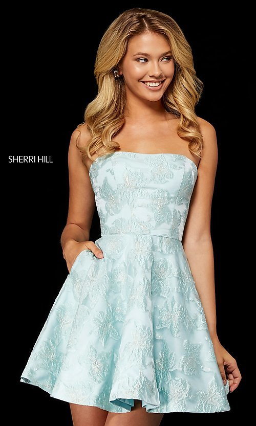 Image of brocade strapless Sherri Hill homecoming dress. Style: SH-52337 Detail Image 1