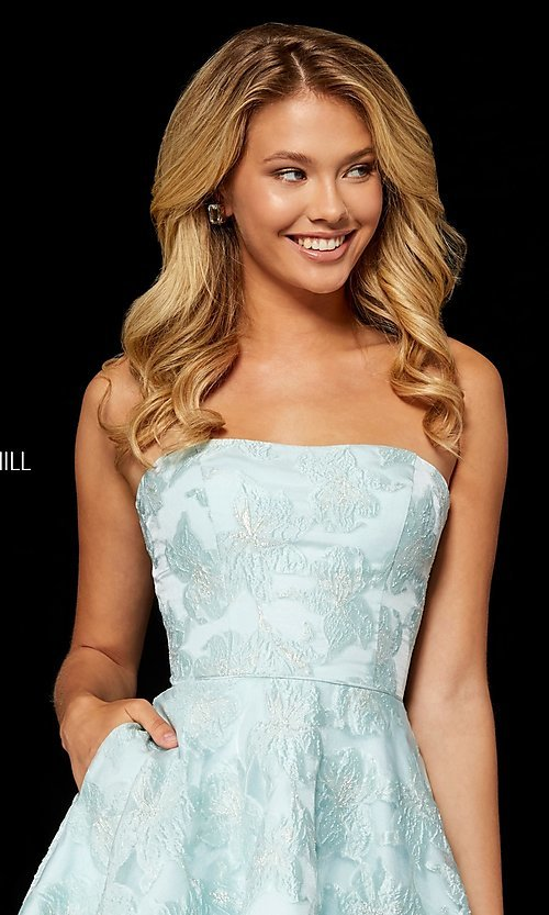Image of brocade strapless Sherri Hill homecoming dress. Style: SH-52337 Detail Image 3