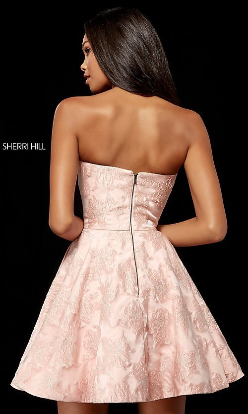 Image of brocade strapless Sherri Hill homecoming dress. Style: SH-52337 Back Image