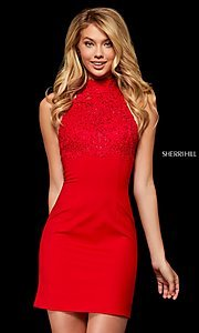 Image of fitted mock-neck homecoming dress by Sherri Hill. Style: SH-52387 Front Image