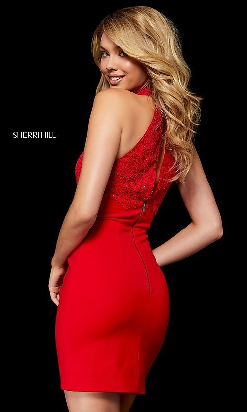 Image of fitted mock-neck homecoming dress by Sherri Hill. Style: SH-52387 Back Image