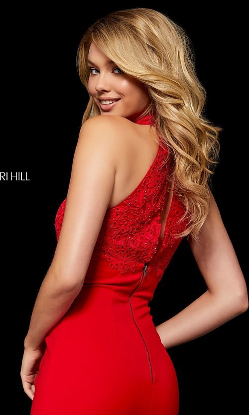 Image of fitted mock-neck homecoming dress by Sherri Hill. Style: SH-52387 Detail Image 2