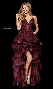 Image of high-low a-line homecoming dress with open back. Style: SH-52395 Front Image