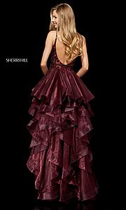 Image of high-low a-line homecoming dress with open back. Style: SH-52395 Back Image