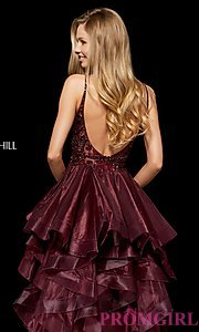 Image of high-low a-line homecoming dress with open back. Style: SH-52395 Detail Image 2