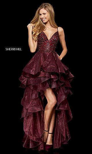 High-Low A-Line Homecoming Dress with Open Back