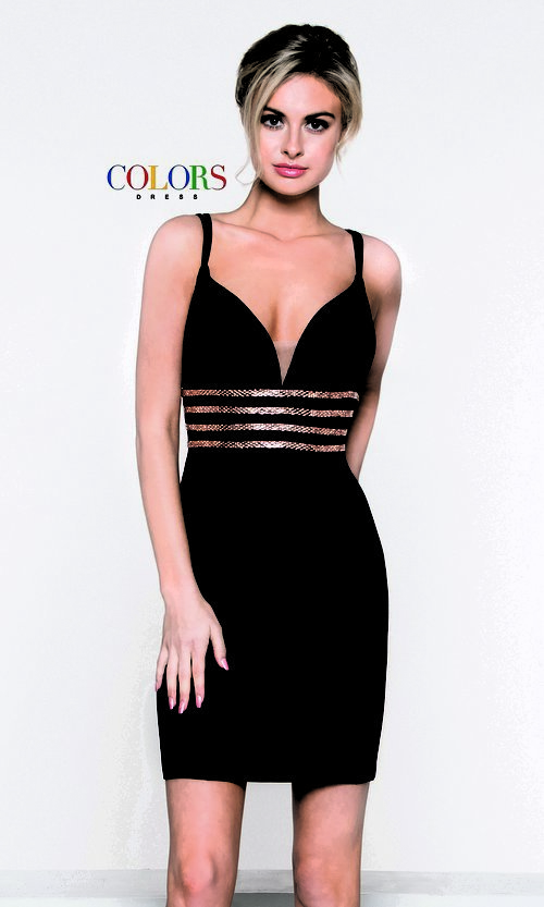 Image of fitted v-neck homecoming dress with beaded waist. Style: CD-1979 Front Image