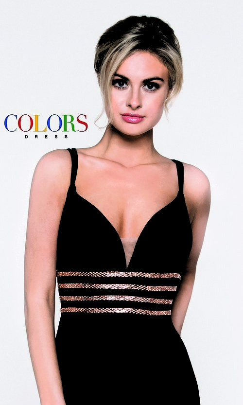 Image of fitted v-neck homecoming dress with beaded waist. Style: CD-1979 Detail Image 1
