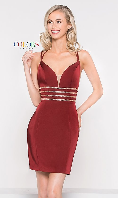 Image of fitted v-neck homecoming dress with beaded waist. Style: CD-1979 Detail Image 2