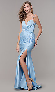 Image of sleeveless long v-back ruched formal dress. Style: CD-2032 Detail Image 7