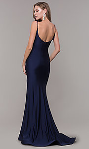 Image of sleeveless long v-back ruched formal dress. Style: CD-2032 Back Image