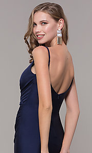 Image of sleeveless long v-back ruched formal dress. Style: CD-2032 Detail Image 2