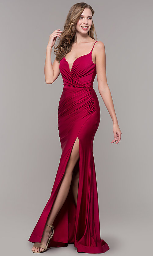 Image of sleeveless long v-back ruched formal dress. Style: CD-2032 Detail Image 4