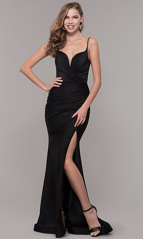 Image of sleeveless long v-back ruched formal dress. Style: CD-2032 Detail Image 3