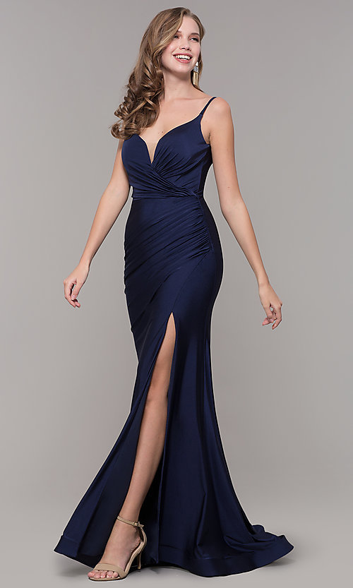 Image of sleeveless long v-back ruched formal dress. Style: CD-2032 Front Image