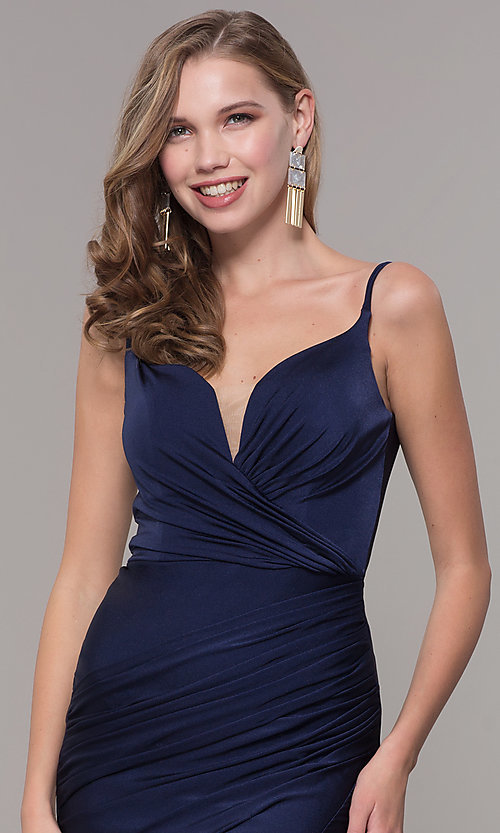 Image of sleeveless long v-back ruched formal dress. Style: CD-2032 Detail Image 1
