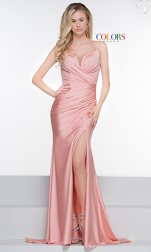 Image of sleeveless long v-back ruched formal dress. Style: CD-2032 Detail Image 5