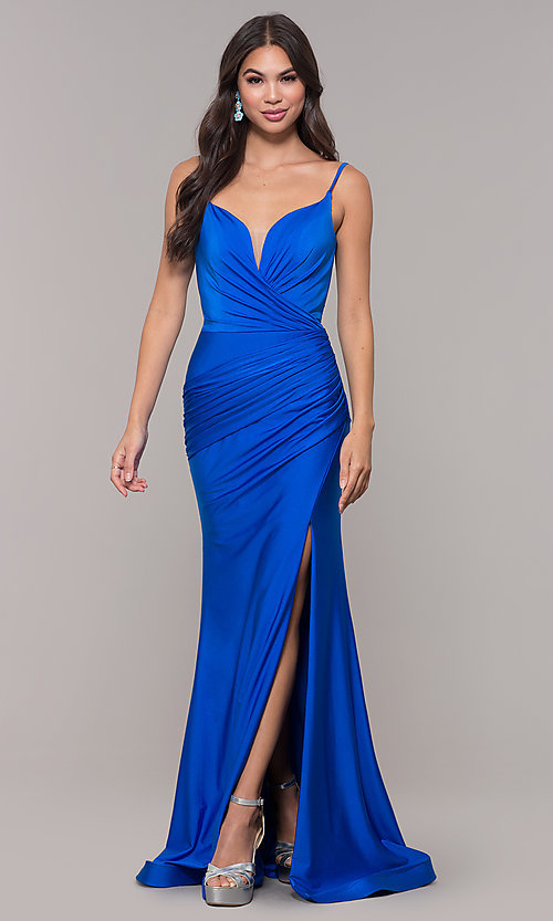 Image of sleeveless long v-back ruched formal dress. Style: CD-2032 Detail Image 8