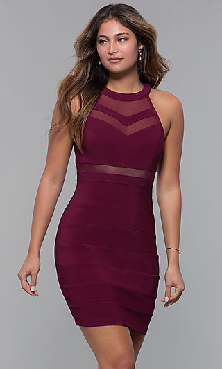 Short High Neck Bandage Style Party Dress