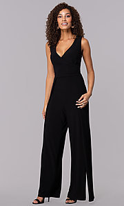 Image of one-piece v-neck holiday jumpsuit. Style: SD-S289360 Detail Image 3