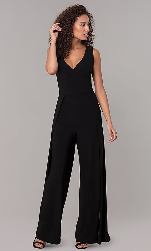 Image of one-piece v-neck holiday jumpsuit. Style: SD-S289360 Front Image