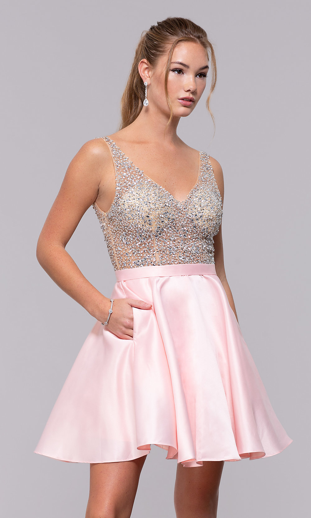 b4e0b40c Image of homecoming dress with sequin and bead embellishments. Style: DQ-3092  Detail. Tap to expand