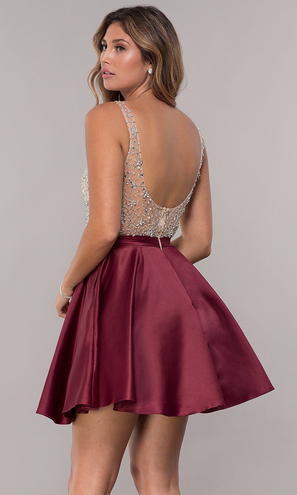 0485fb3d Image of homecoming dress with sequin and bead embellishments. Style: DQ-3092  Back. Tap to expand