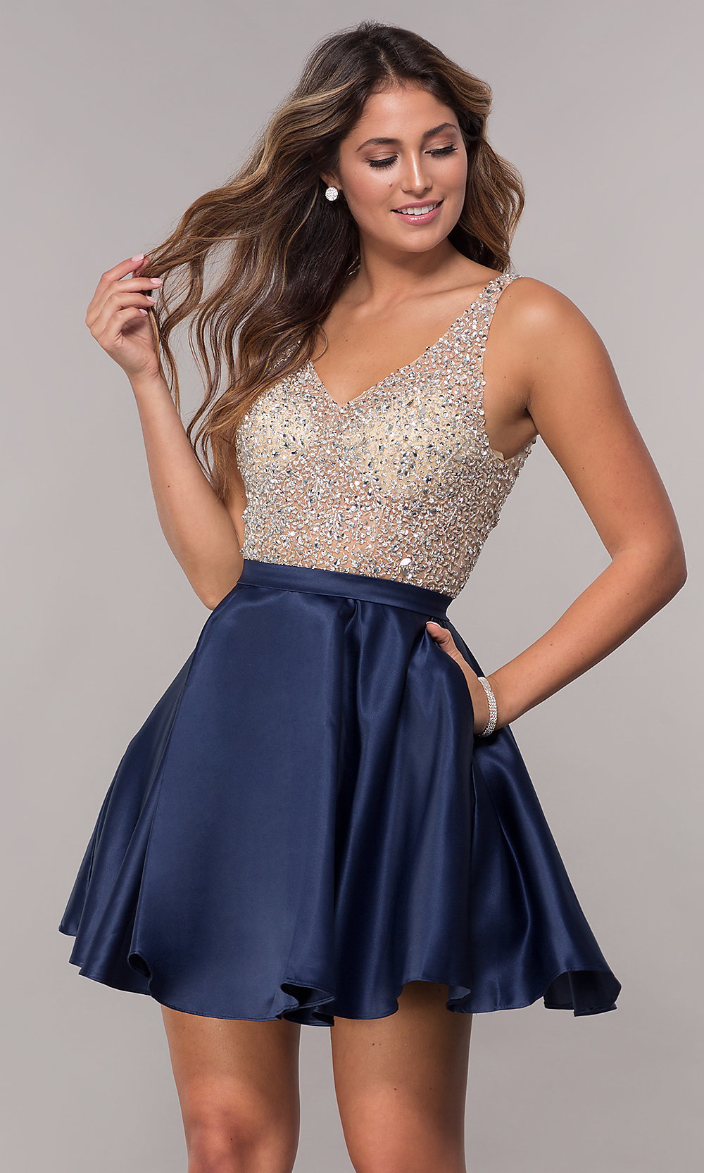 eb92bd672 Sequin and Bead Embellished Homecoming Dress- PromGirl