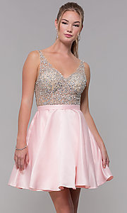 Image of homecoming dress with sequin and bead embellishments. Style: DQ-3092 Detail Image 2