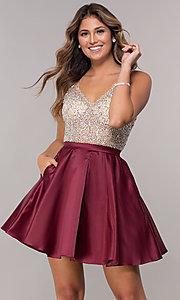 Image of homecoming dress with sequin and bead embellishments. Style: DQ-3092 Front Image