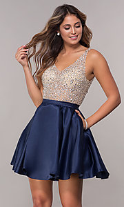 Image of homecoming dress with sequin and bead embellishments. Style: DQ-3092 Detail Image 1