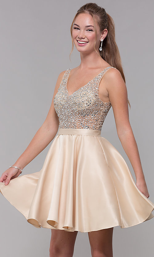 Image of homecoming dress with sequin and bead embellishments. Style: DQ-3092 Detail Image 3