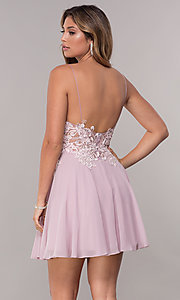 Image of short homecoming embroidered-lace mauve dress. Style: ZG-PL-32754SC Back Image