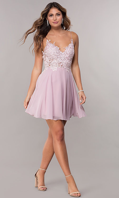 Image of short homecoming embroidered-lace mauve dress. Style: ZG-PL-32754SC Detail Image 3