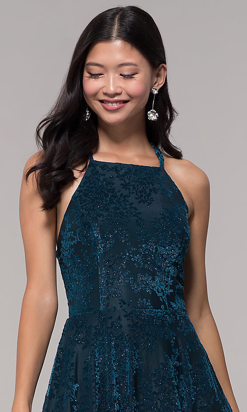 Image of short glitter-velvet open-back holiday party dress. Style: CT-7857SC7AT3 Detail Image 1
