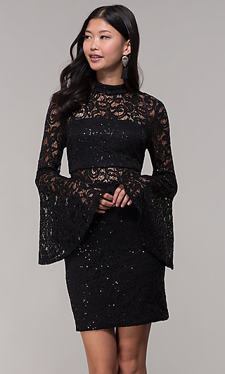 Long-Sleeve Short Black Lace Holiday Party Dress
