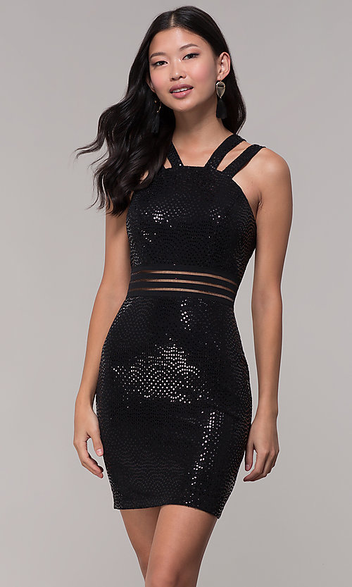 Image of short black sequin holiday party dress. Style: CT-7796SH2BT3 Front Image