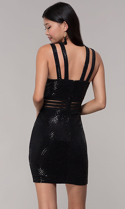 Image of short black sequin holiday party dress. Style: CT-7796SH2BT3 Back Image