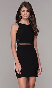 Image of short sleeveless homecoming dress with sheer sides. Style: CD-GL-G772S Front Image