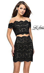 Image of short lace two-piece homecoming dress by La Femme. Style: LF-26666 Front Image