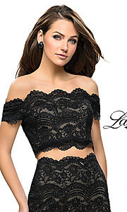 Image of short lace two-piece homecoming dress by La Femme. Style: LF-26666 Detail Image 1