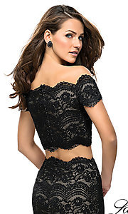 Image of short lace two-piece homecoming dress by La Femme. Style: LF-26666 Detail Image 2