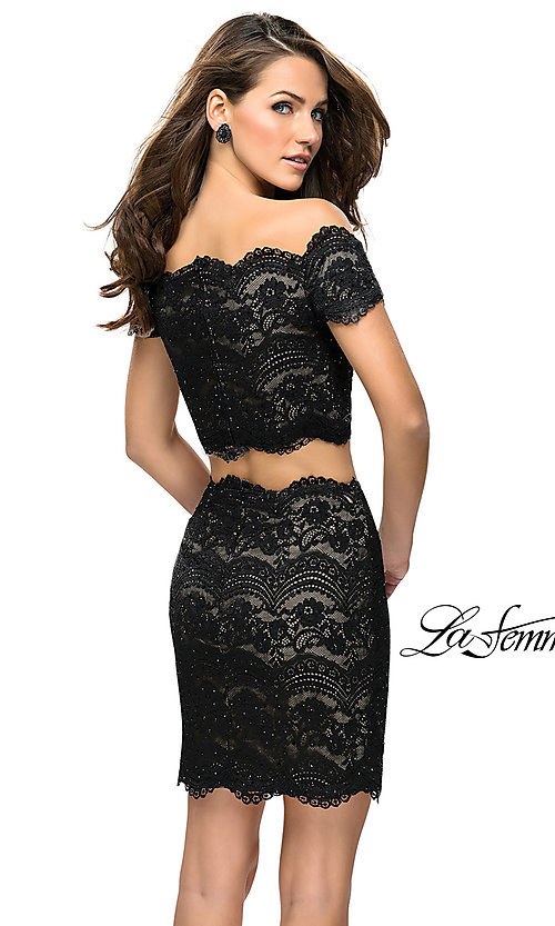 Image of short lace two-piece homecoming dress by La Femme. Style: LF-26666 Back Image