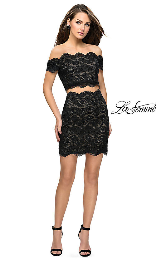 Image of short lace two-piece homecoming dress by La Femme. Style: LF-26666 Detail Image 3