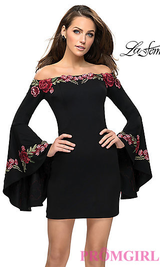 Short Black Jersey Homecoming Dress with Sleeves