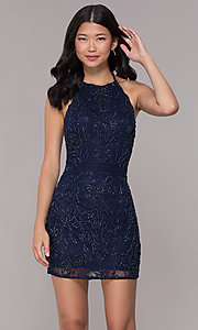 Image of caged-back midnight blue hoco dress by PromGirl. Style: PV-PL-115 Front Image